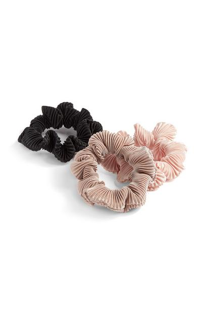 3-Pack Black Pink And Beige Crinkle Scrunchies