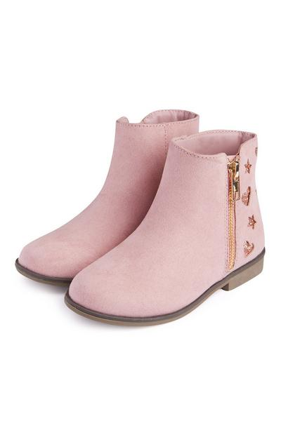 Younger Girl Pink Glitter Cut Out Boots