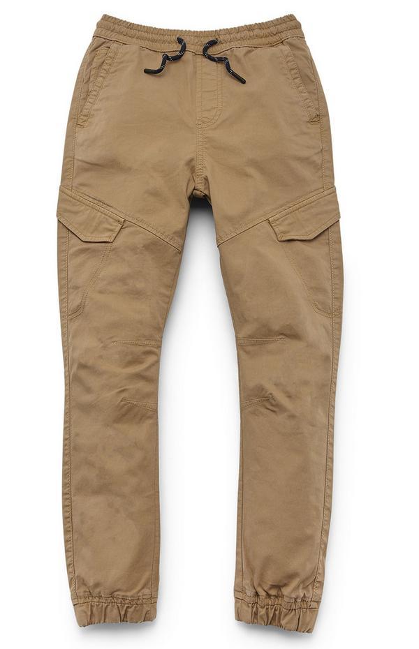 Rjavosive hlače z žepi na stegnih za starejše fante