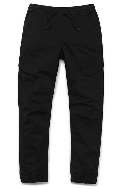 Younger Boy Black Cargo Trousers