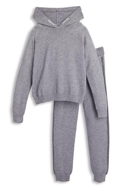 Ensemble sweat à capuche et pantalon de jogging gris à strass