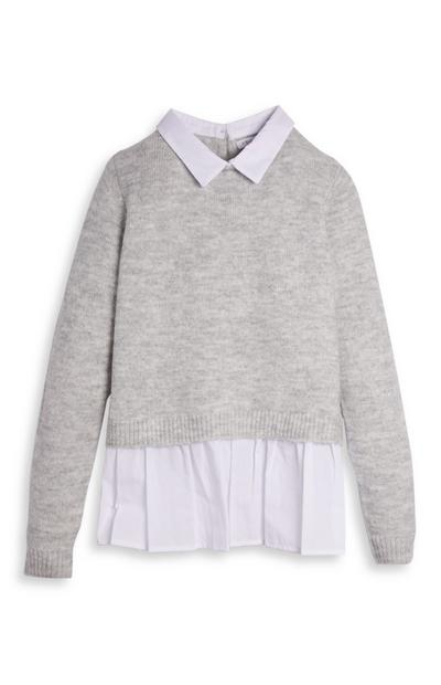 Gray and White 2-In-1 Sweater