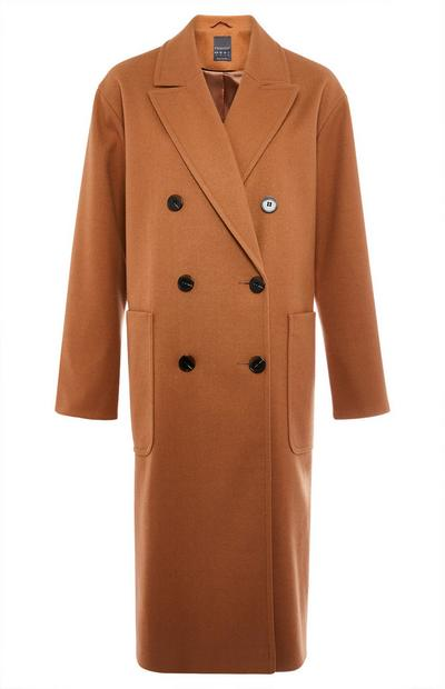 Tan Longline Double Breasted Slouchy Coat