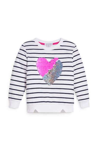 Younger Girl White Striped Heart Sweater