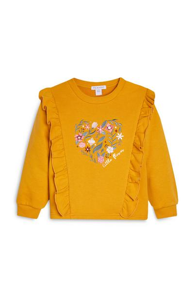 Younger Girl Mustard Eyelet Ruffled Sweatshirt