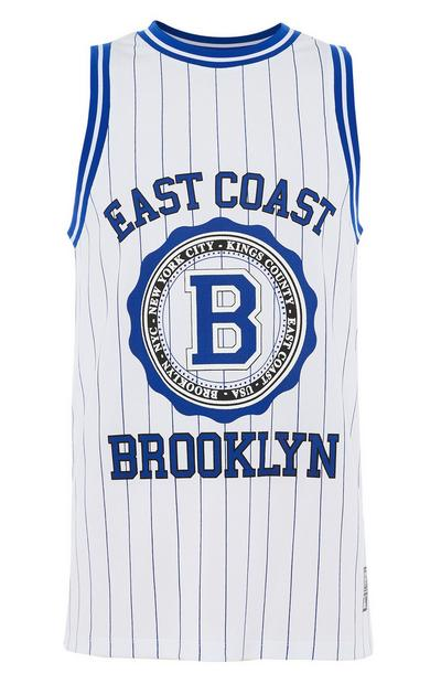 Blue Striped Slogan Basketball Tank