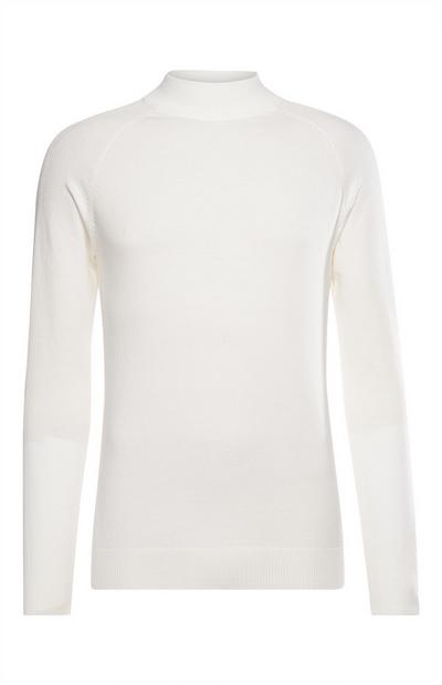 White Mock Neck Sweater
