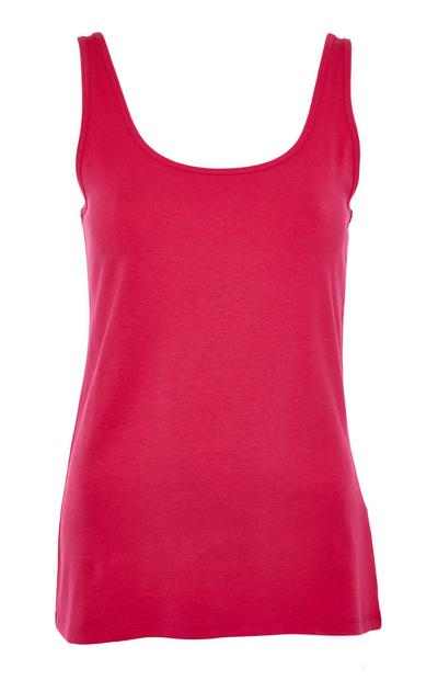 Hot Pink Stretch Scoop Neck Vest Top