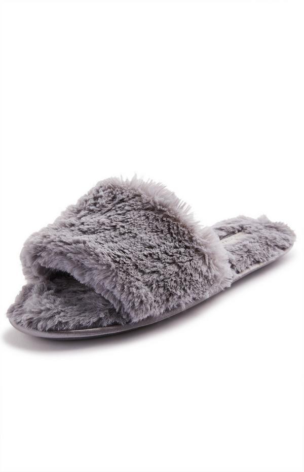 Grey Faux Fur Mule Slippers