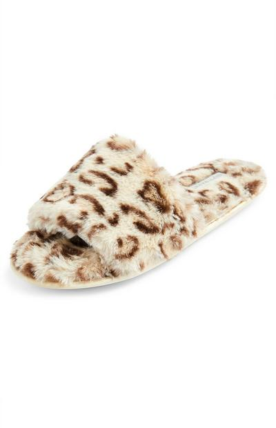 Faux Fur Animal Print Slippers