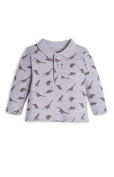 Grijs shirt met dinosaurussen voor babyjongens