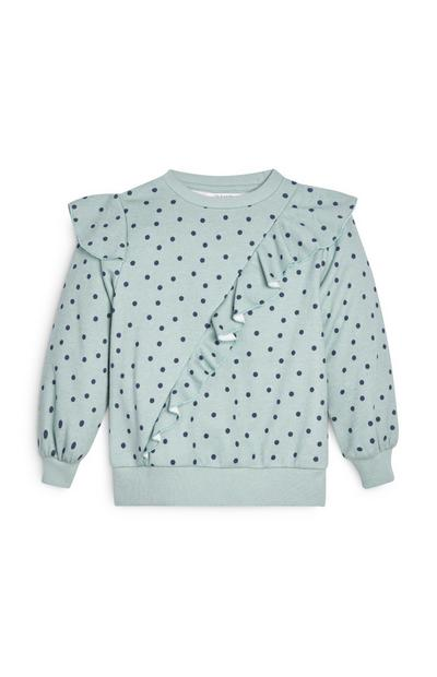 Younger Girl Mint Green Ruffled Crew Neck Sweatshirt