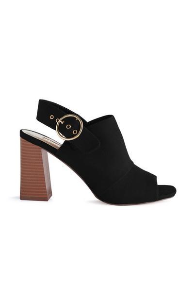 Black Block Heeled Buckle Strap Sandals