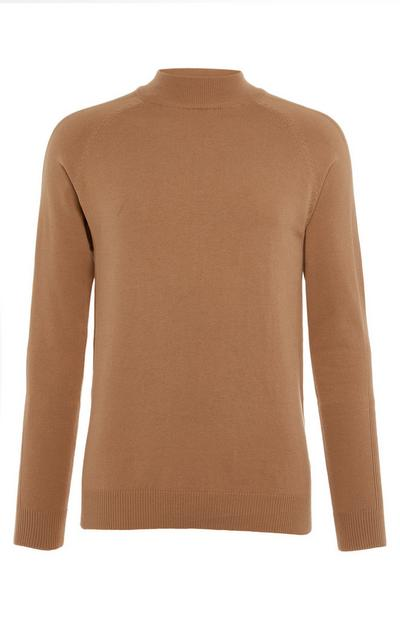 Camel Longsleeved Turtle Neck Jumper