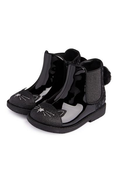 Younger Girl Black Novelty Cat Boots