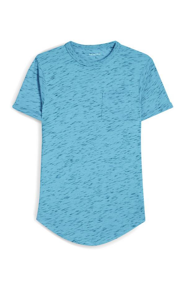 T-shirt blu puntinata a maniche corte con tasca anteriore