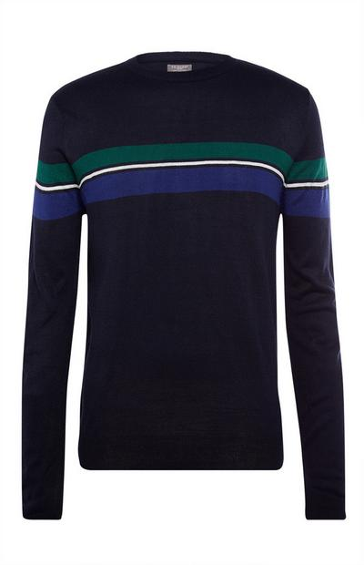 Black Acrylic Stripe Crew Neck Sweater