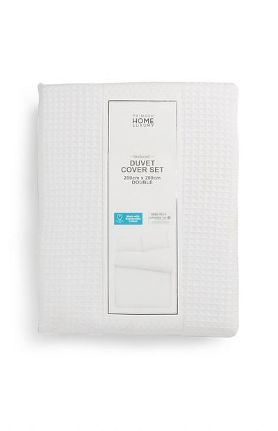 White Textured Sustainable Cotton Double Duvet Cover Set