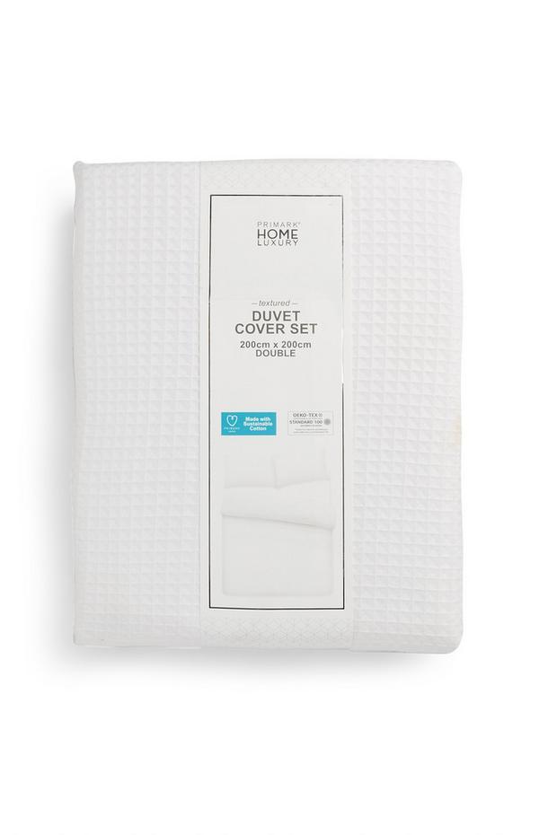 Parure de lit double blanche en coton texturé