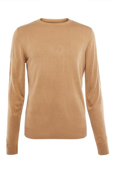 Beige Plain Acrylic Sweater