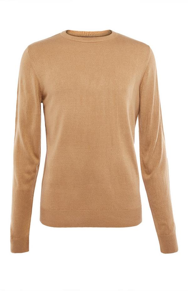 Solid Beige Acrylic Sweater