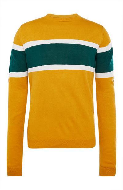 Mosterdgele gestreepte sweater met ronde hals