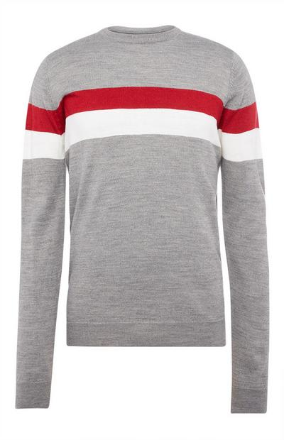 Gray Acrylic Stripe Crew Neck Sweater