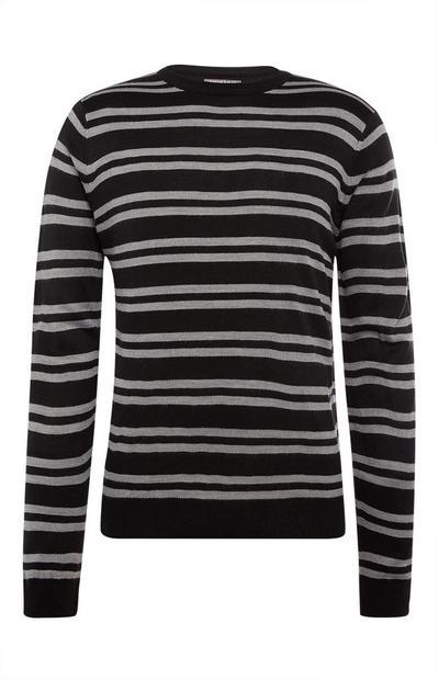 Zwarte gestreepte sweater met ronde hals