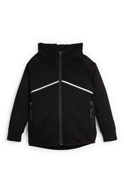 Younger Boy Black Soft Feel Zip Up Top