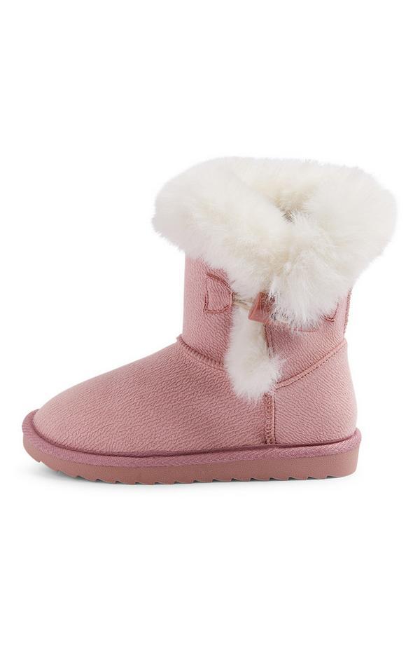 Flauschige, rosafarbene Stiefel (kleine Mädchen)