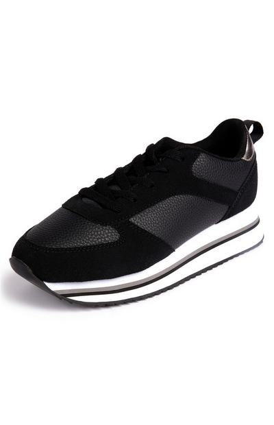 Black And White Faux PU Leather Flatform Trainers