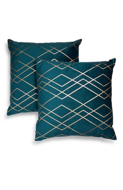 Housse de coussin bleu canard en velours à motif géométrique métallisé