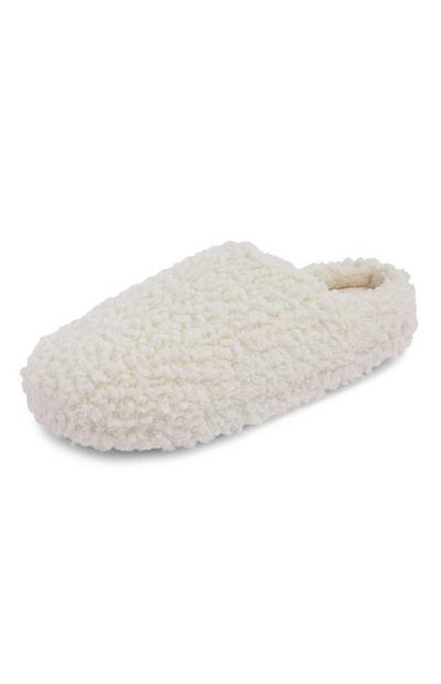 White Fleece Mule Slippers