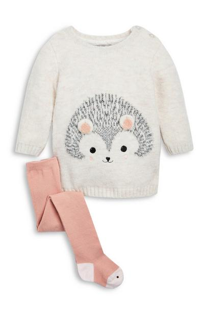 Baby Girl Hedgehog Knit Dress and Tights