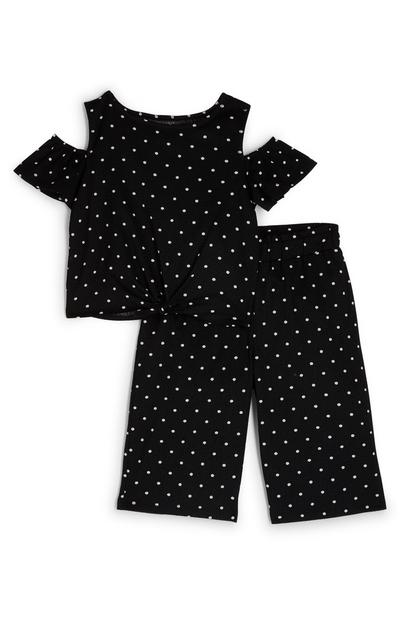 Younger Girl Black Polka Dot Top And Pants Set