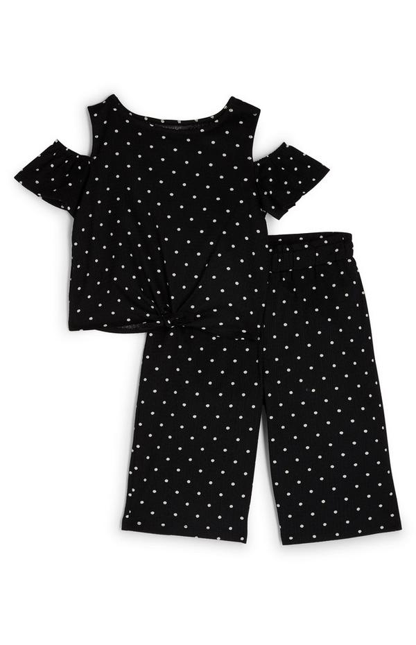 Younger Girl Black Polkadot Top And Trouser Set