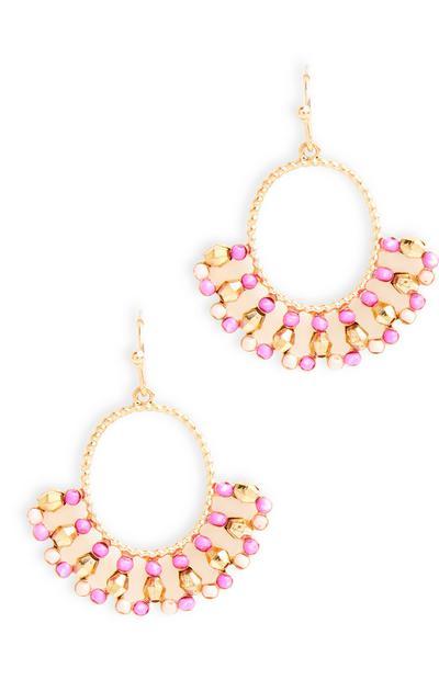 Boucles d'oreilles roses et dorées avec crochets et perles fines