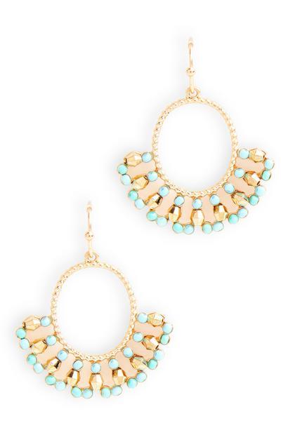 Boucles d'oreilles bleues et dorées avec crochets et perles fines