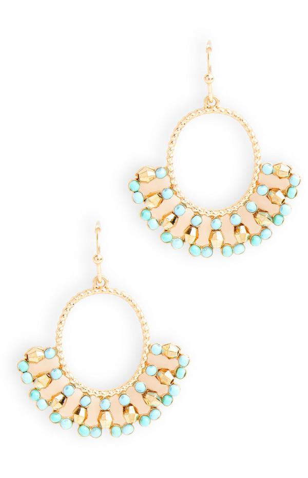 Blauwe/goudkleurige oorbellen met subtiele kraaltjes