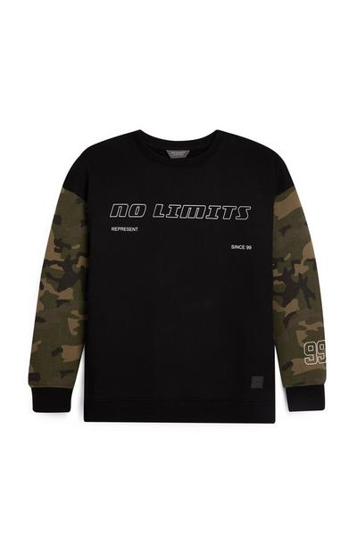 Older Boy Camo Panel Crew Neck Sweater