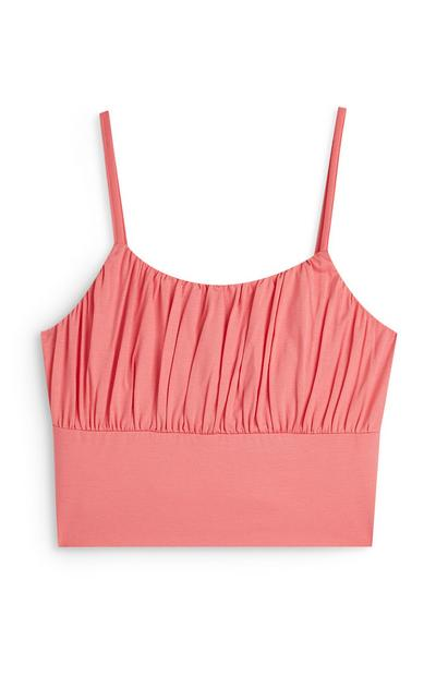 Coral Gathered Front Cami Crop Top