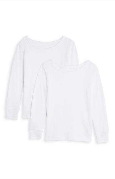 Fantovska bela termo majica z dolgimi rokavi, 2 kosa