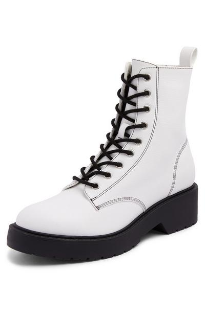 White Chunky Contrast Lace Up Boots