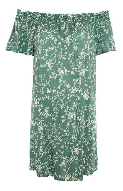 Grünes Bardot-Minikleid mit Blumenmuster
