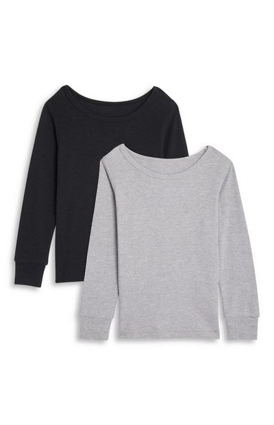 Boys Black and Grey Thermal Long Sleeve Top 2 Pack
