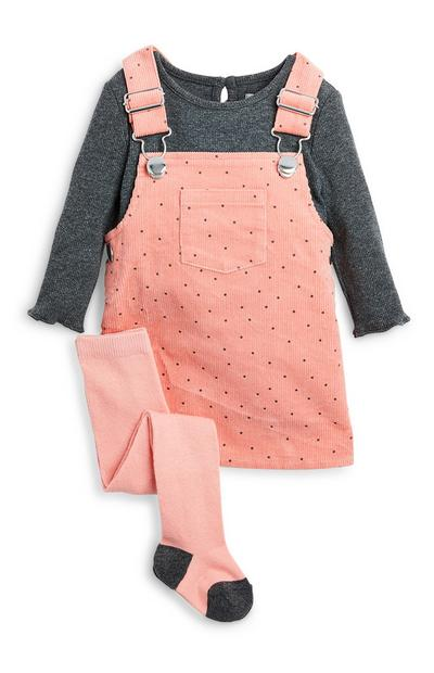 Baby Girl Pink Polka Dot Overall Dress and Tights