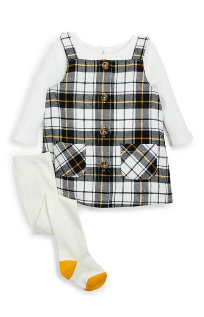 Dekliška karirasta obleka z naramnicami in hlačne nogavice za dojenčke