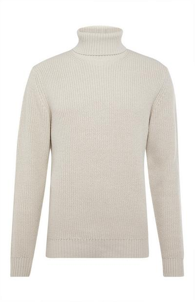 White Chunky Roll Neck Sweater