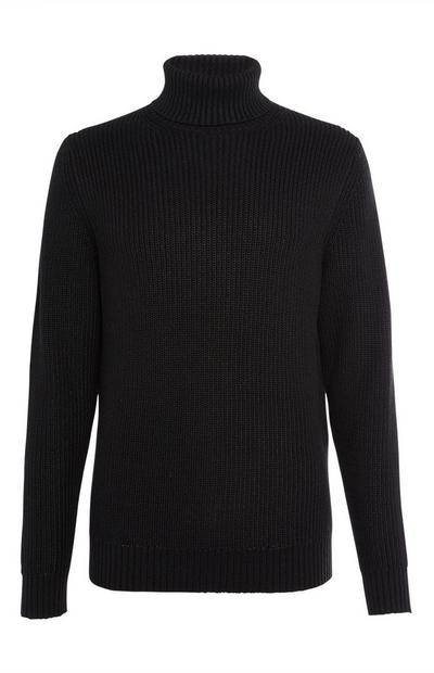 Black Chunky Roll Neck Sweater