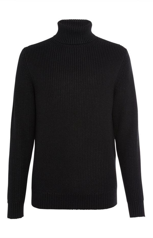 Jersey grueso de cuello vuelto negro